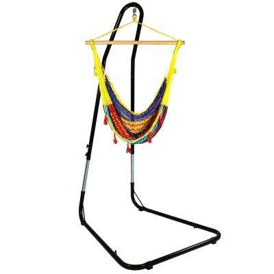 3 ft. Mayan Hammock Chair with Wood Spreader Bar and Stand in Multi-Color