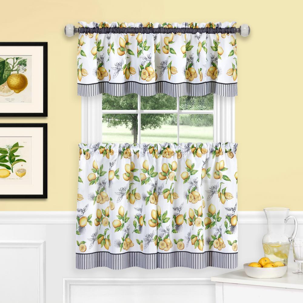 58 x 24 Achim Home Furnishings Blue Coastal Tier and Valance Window Curtain Set
