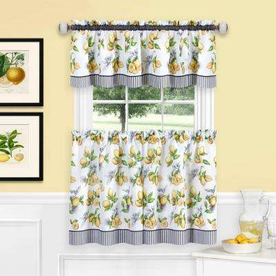 58 in. W x 36 in. L Polyester Tier and Valance Curtain Set in Lemon Drop