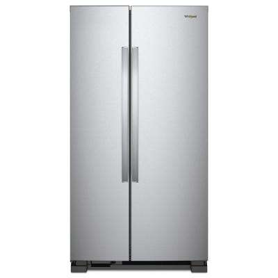 36 in. W 25.07 cu. ft. Side by Side Refrigerator in Monochromatic Stainless Steel