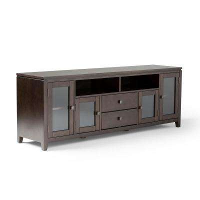 Cosmopolitan 72 in. Mahogany Brown Wood TV Stand with 1 Drawer Fits TVs Up to 80 in. with Storage Doors