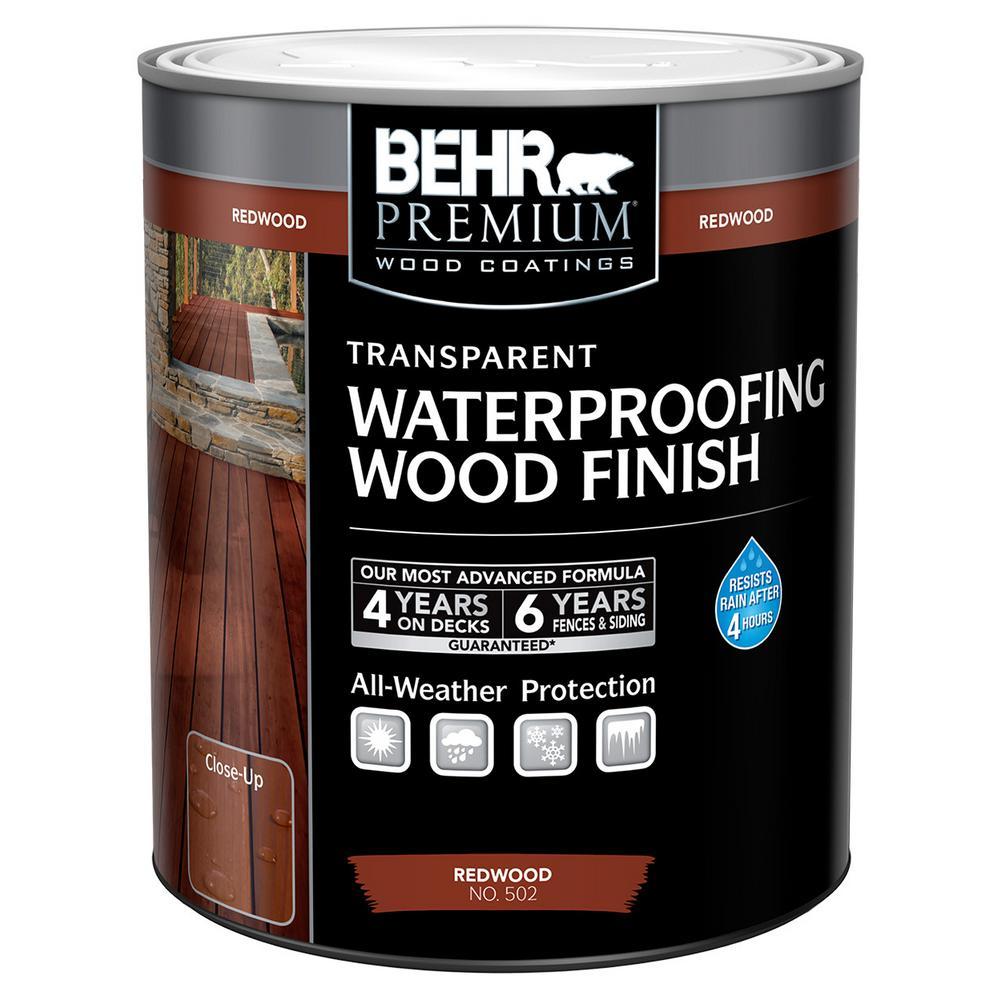 BEHR Premium 1 qt. Redwood Transparent Waterproofing Wood Finish