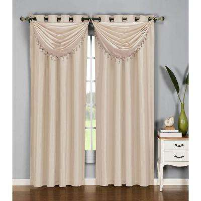 Semi-Opaque Jane Faux Silk 54 in. W x 84 in. L Grommet Extra Wide Curtain Panel in Taupe