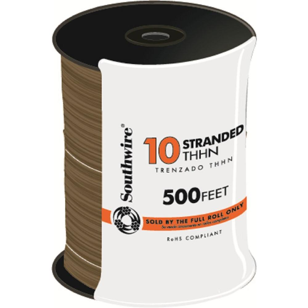 500 ft. 10 Brown Stranded CU THHN Wire