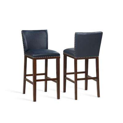 Tiffany 30 in. Contemporary Navy Bar Stool (Set of 2)