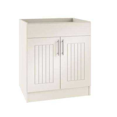 Assembled 36x34.5x24 in. Naples Open Back Sink Outdoor Kitchen Base Cabinet with 2 Doors in Radiant White