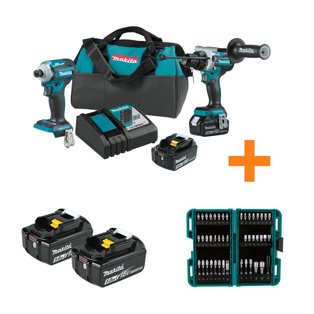 Makita 18V LXT 2-Piece Brushless Hammer Driver-Drill & Impact Driver Combo Kit (XT288T) + 4 Batteries & 45-Piece IMPACT XPS Imp