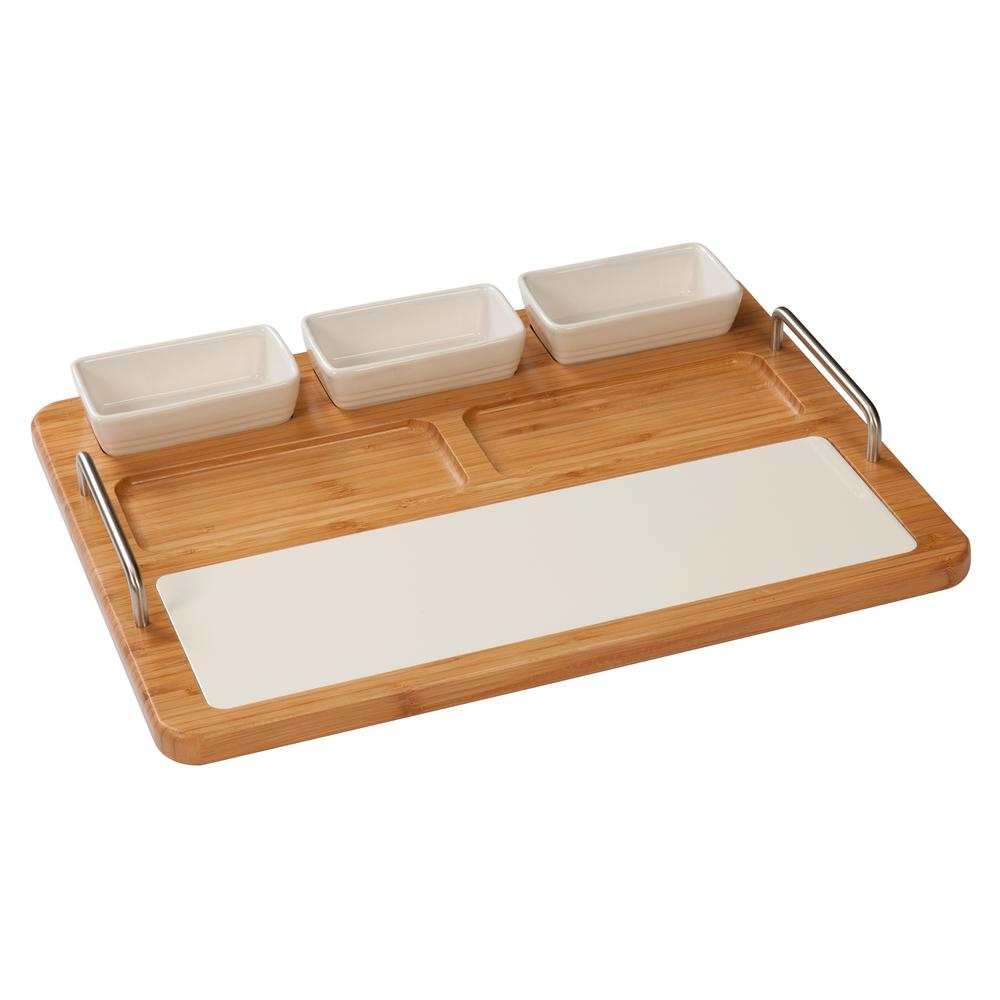 Creativeware Tablestyles Bamboo And Ceramic Hostess Server With Serving Bowls Cutting Board 54006 The Home Depot