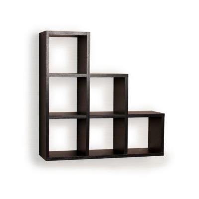 Contempo 19 in. W x 19 in. H Black MDF Stepped Six Cubby Decorative Wall Shelf
