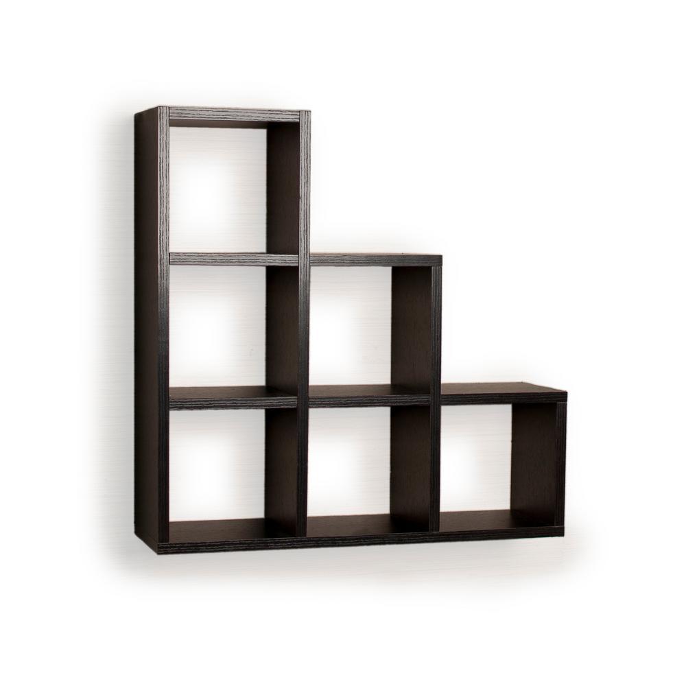 DANYA B Contempo 19 in. W x 19 in. H Black MDF Stepped Six Cubby Decorative Wall Shelf