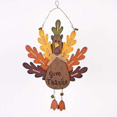 20.67 in.H Burlap/Wooden Turkey Wall Decor