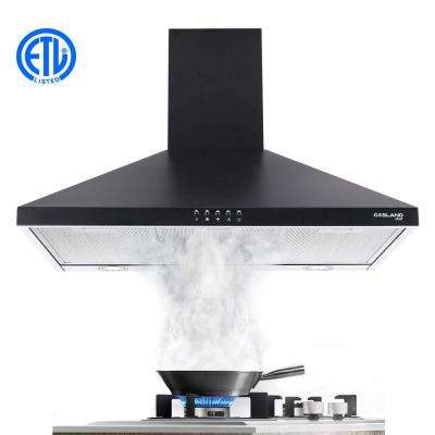 30 in. Wall Mount Range Hood in Black Stainless Steel with Aluminum Filters LED Lights, Push Button Control