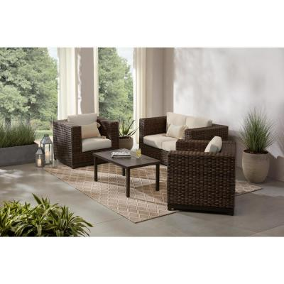 Fernlake 4-Piece Taupe Wicker Outdoor Patio Deep Seating Set with CushionGuard Chalk White Cushions