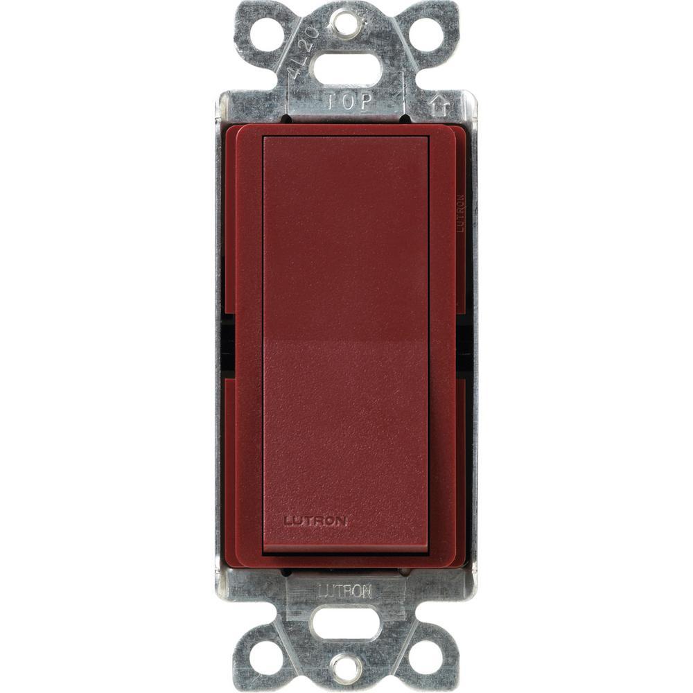 Lutron Claro 15 Amp 3 Way Rocker Switch Merlot Sc 3ps Mr The Home Three Depot