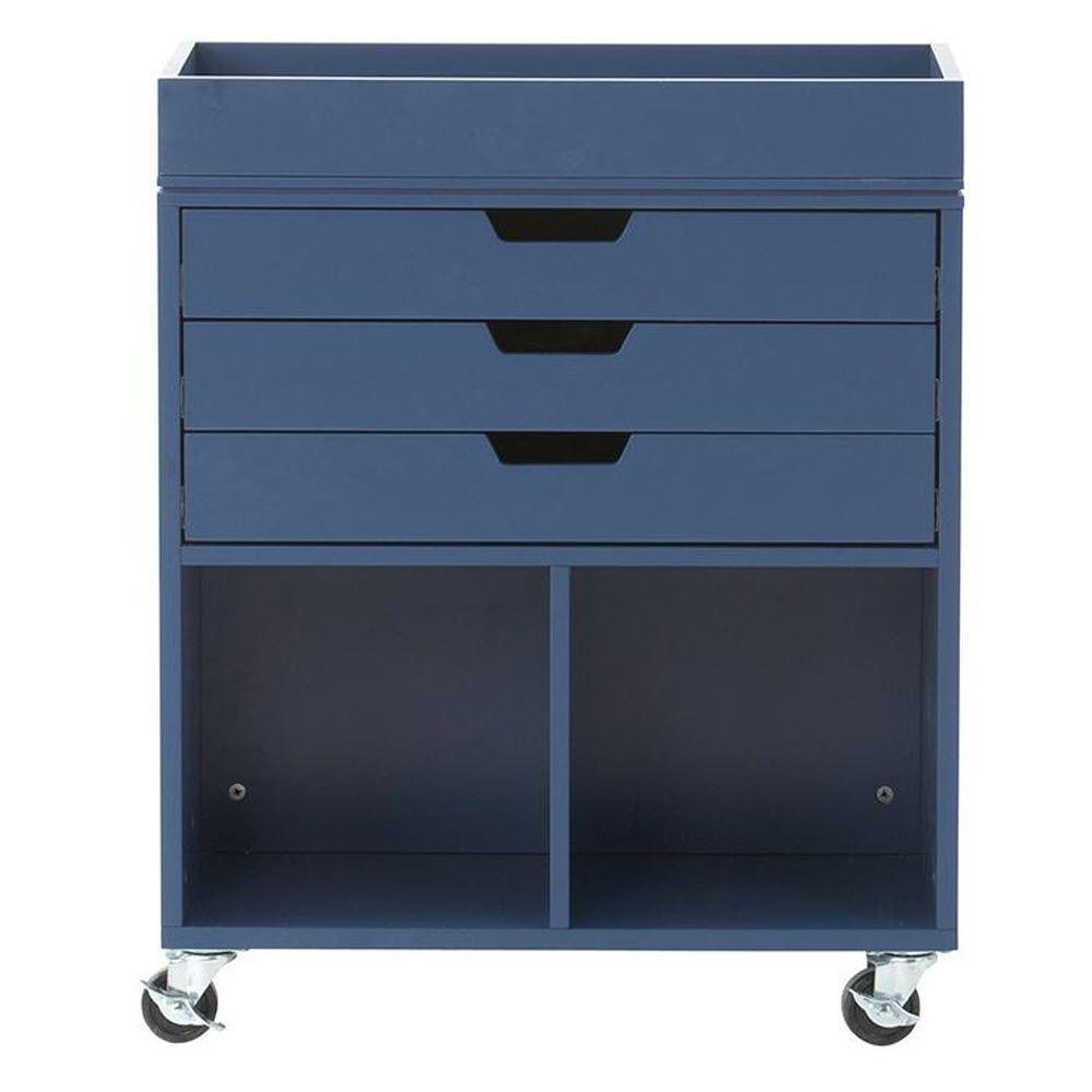 Home Decorators Collection Avery 25 in. W 3-Drawer MDF Wrapping Mobile Cart in Sapphire