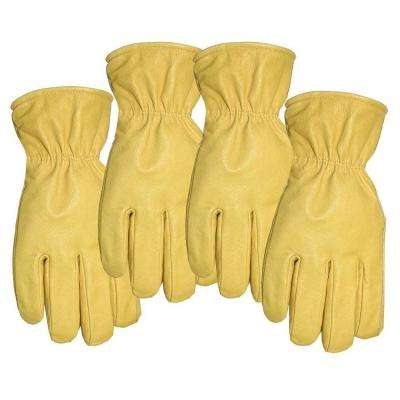 Men's Large Premium Grade Unlined Pigskin Leather Gloves 4 Pair Pack