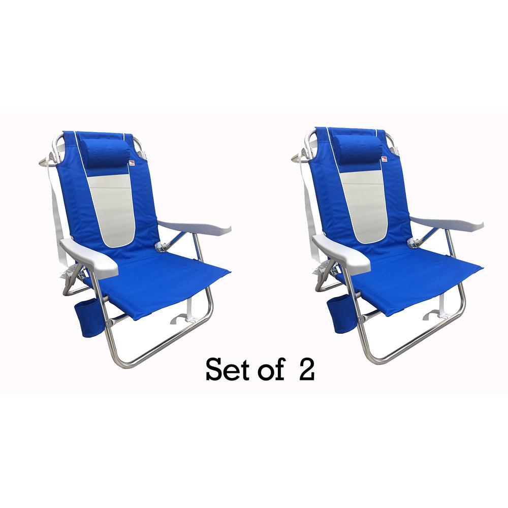 Blue Multi-Position Flat Folding Beach Chair (2-Pack)