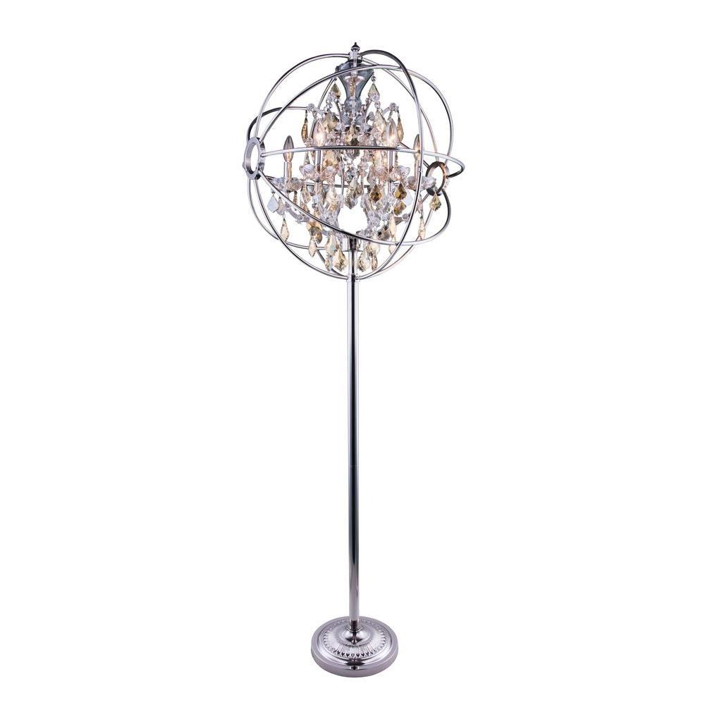 Geneva 71.5 in. Polished Nickel Floor Lamp with Golden Teak Smoky Crystal