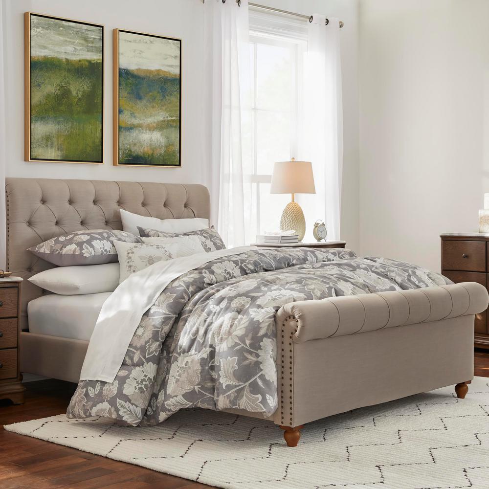 Larkspur 5-Piece Stone Gray and Khaki Cotton Full Comforter Set