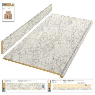 Laminate Countertop Kit In Marmo Bianco With Premium Textured Gloss Finish  And Valencia