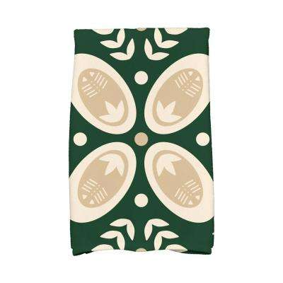 16 in. x 25 in. Dark Green Tradition Holiday Geometric Print Kitchen Towel