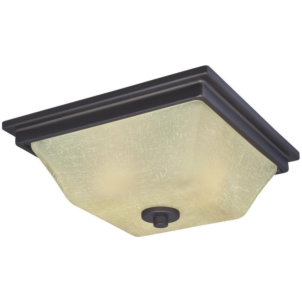 Ewing 2-Light Oil Rubbed Bronze Flush Ceiling Fixture