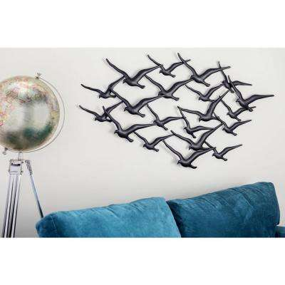 Iron Distressed Black Flock of Birds in Flight Metal Work