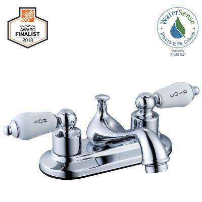 Teapot 4 in. Centerset 2-Handle Low-Arc Bathroom Faucet in Chrome