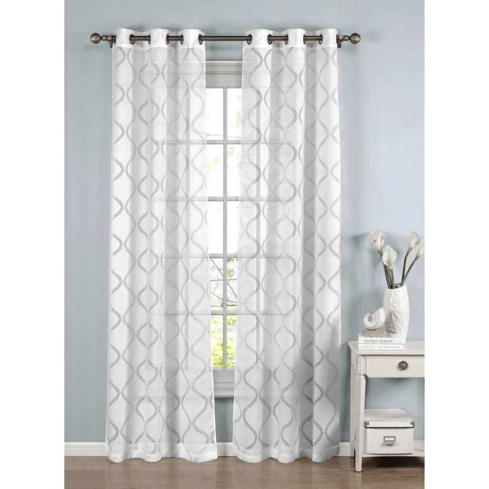 Window Elements Sheer Lisse Cotton Blend Burnout 96 In L Grommet Curtain Panel Pair