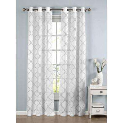 Lisse Cotton Blend Burnout Sheer Grommet Curtain Panel, 38 in. W x 96 in. L (1 Pair)