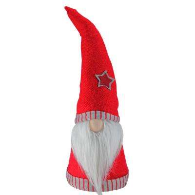 21 in. Retro Christmas Red and Grey Table Top Christmas Cone Gnome Decoration