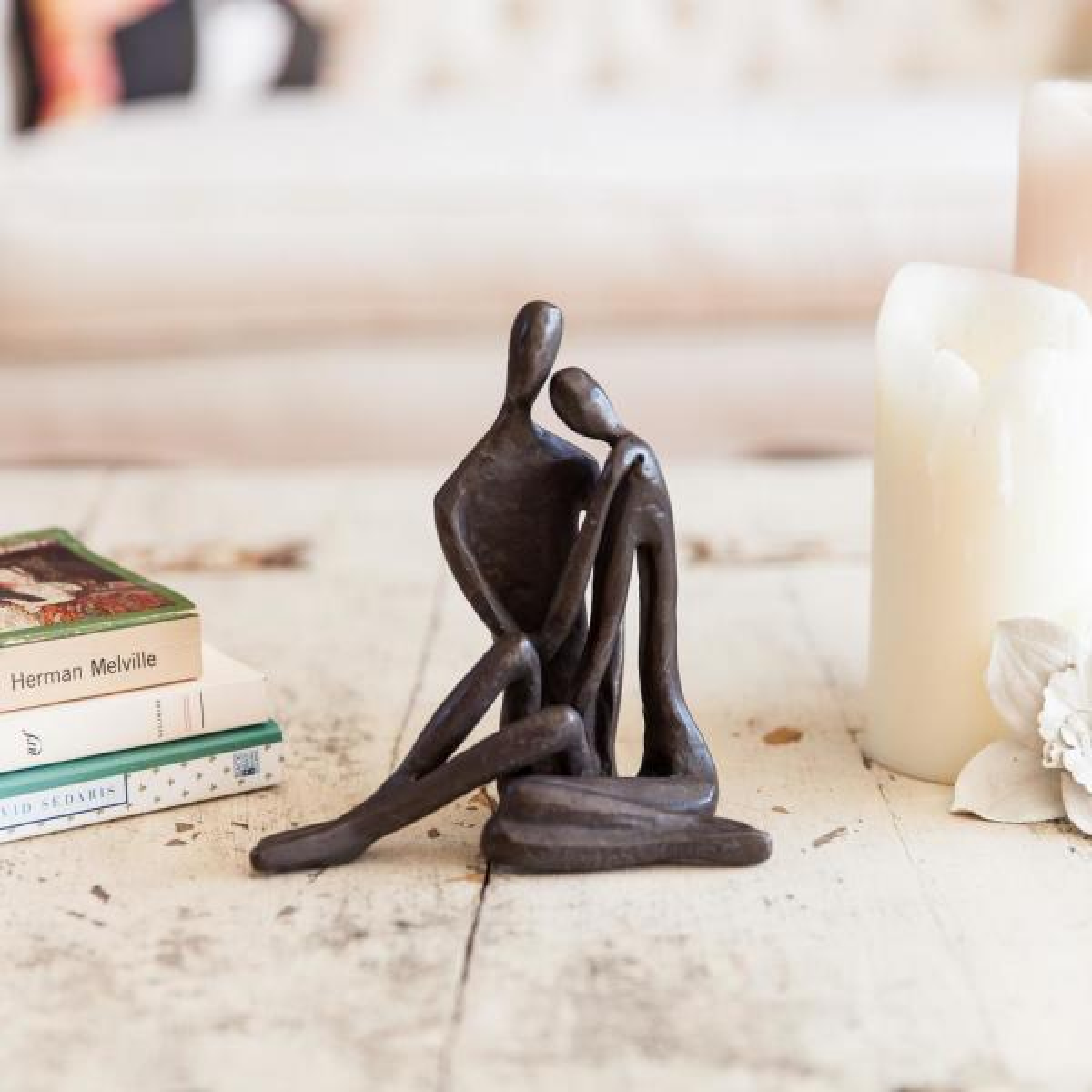 Couple Embracing Cast Bronze Sculpture