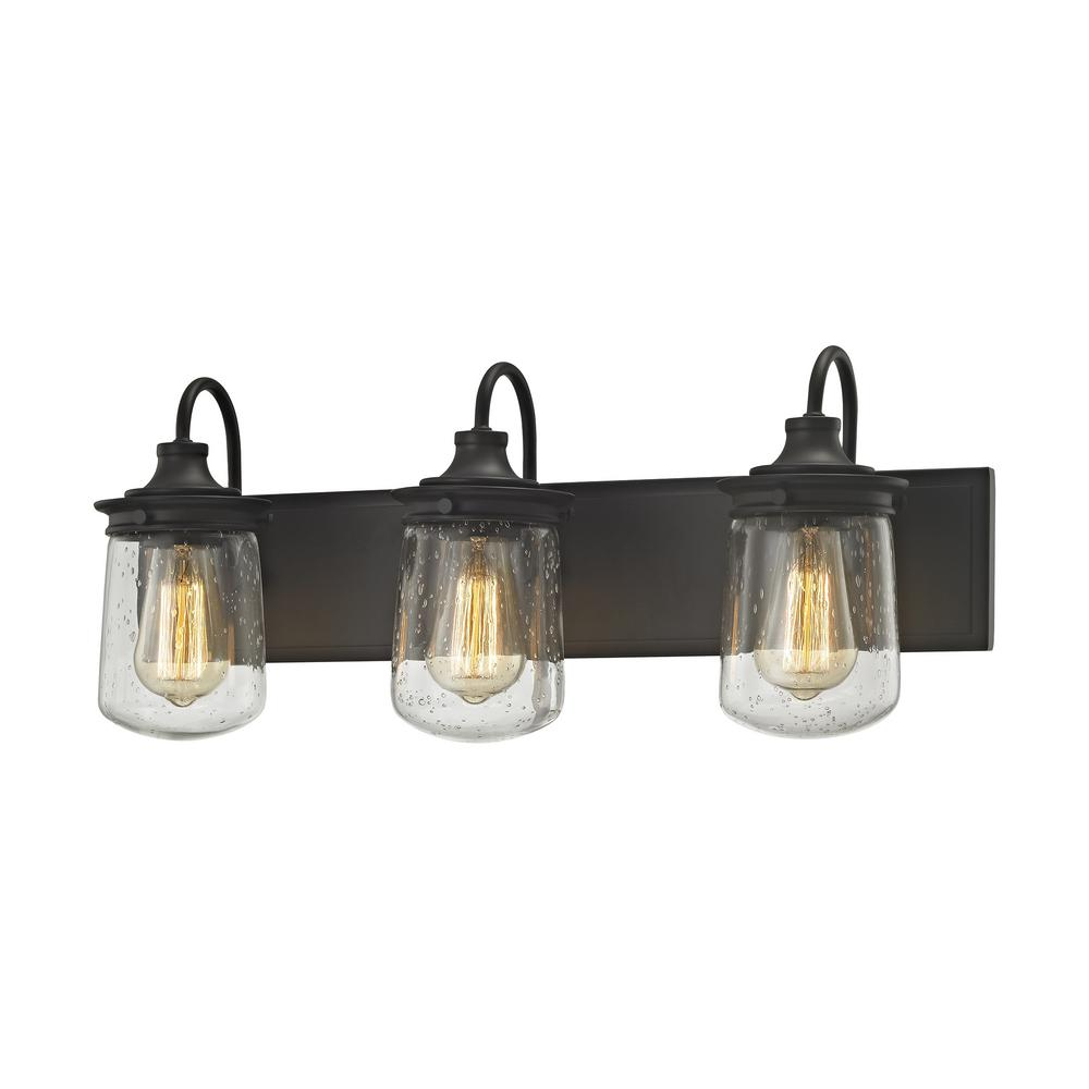 Titan Lighting Hamel 3 Light Oil Rubbed Bronze With Clear