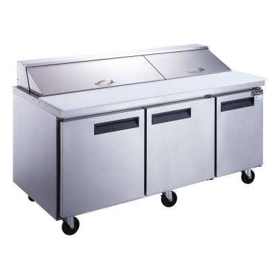 72 in. W 17.5 cu. Ft. 3-Door Commercial Food Prep Table Refrigerator in Stainless Steel