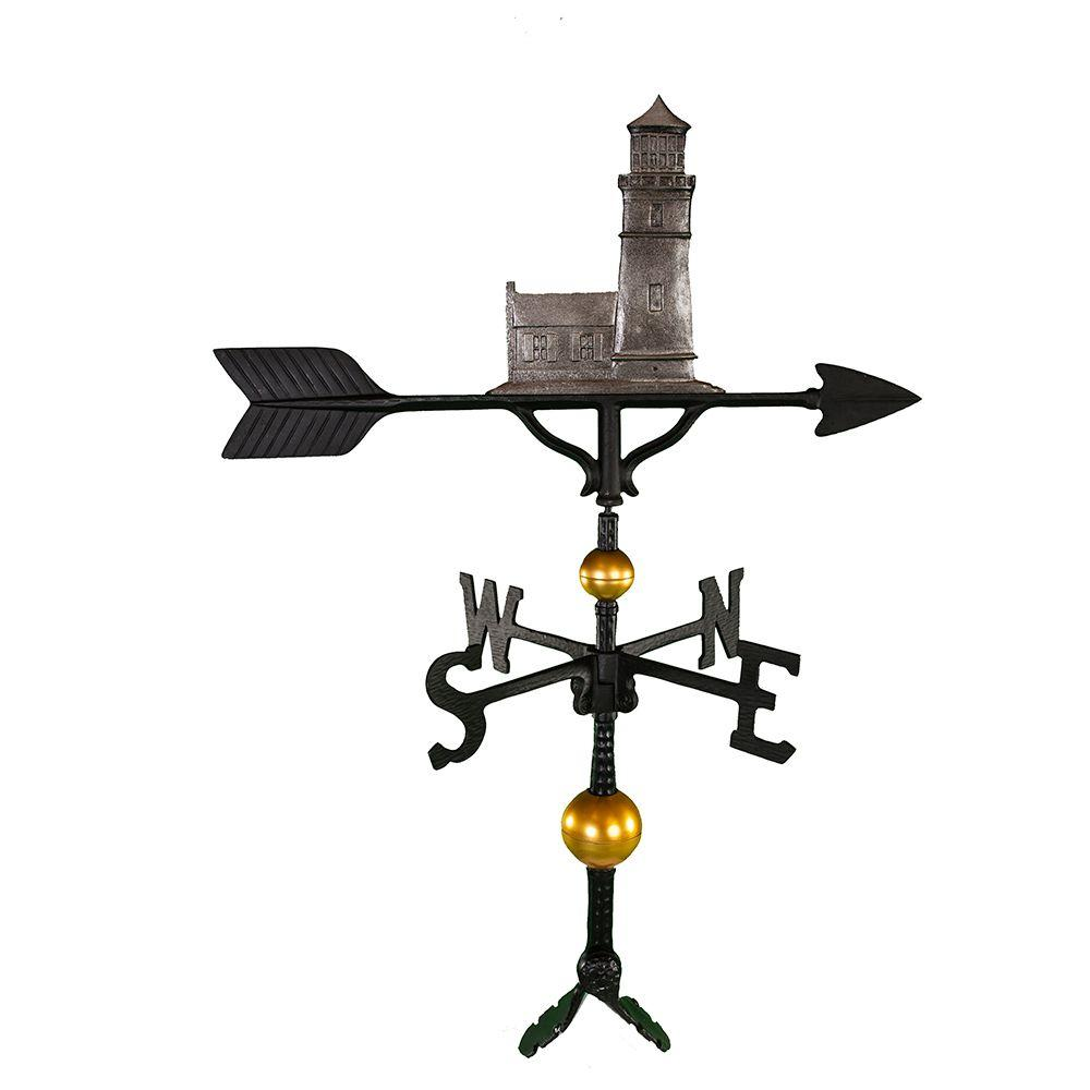 Montague Metal Products 32 in. Deluxe Swedish Iron Cottage Lighthouse Weathervane