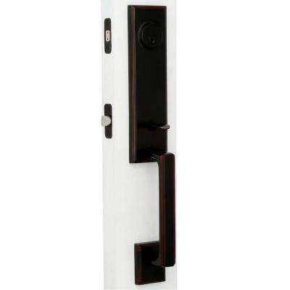 Elegance Single Cylinder Oil-Rubbed Bronze Woodward I Interconnect Door Handleset with Impresa Knob