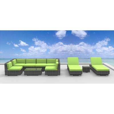 Ibiza 10-Piece Wicker Outdoor Sectional Seating Set with Lime Green Cushions