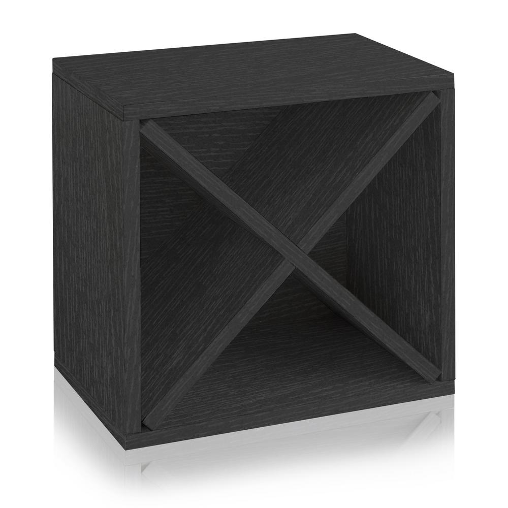 Way Basics Eco zBoard 12-Bottle Black Stackable Tool Free Assembly Wine Cube Storage Rack