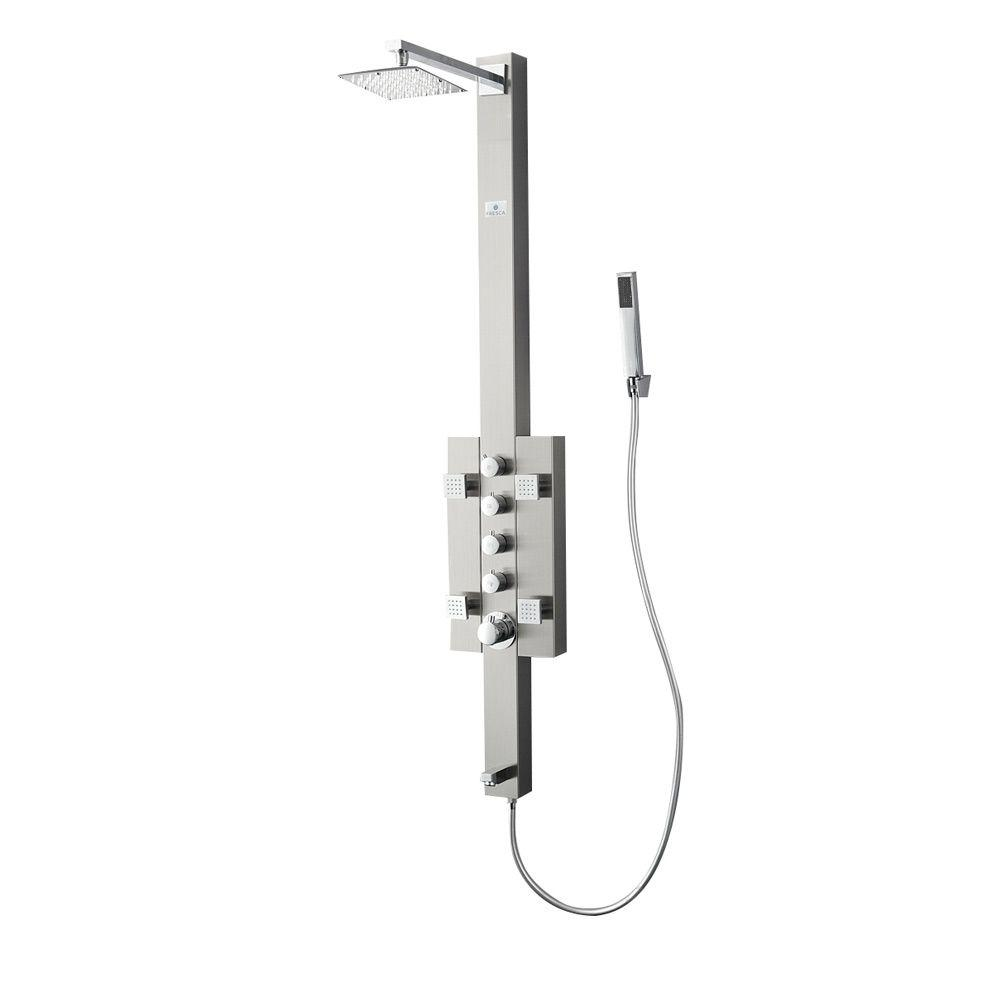 Fresca Lecco 4-Jet Shower Panel System in Brushed Silver