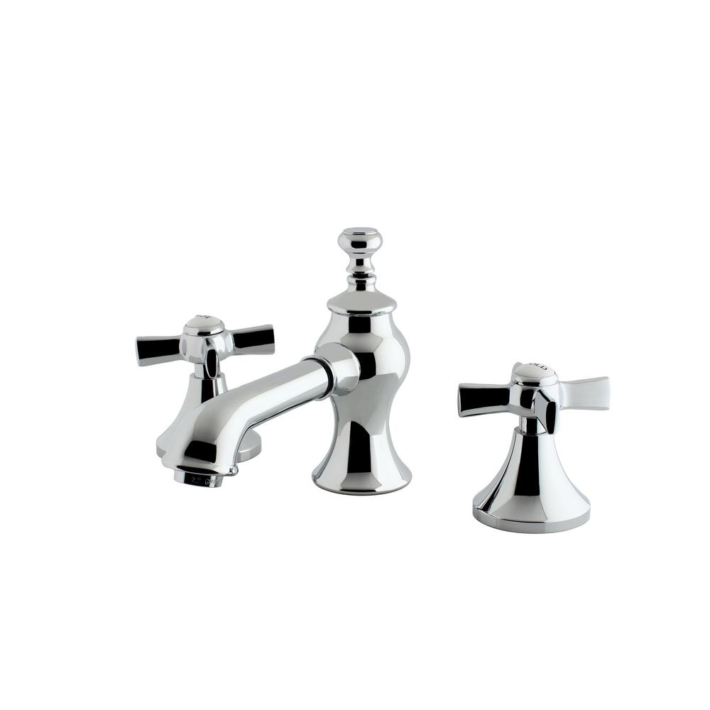 Kingston Brass Modern Cross 8 In. Widespread 2-Handle Mid-Arc Bathroom Faucet In Chrome