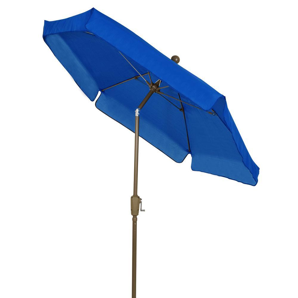 7.5 ft Champagne Bronze Pole Tilt Garden Market Umbrella in Pacific Blue
