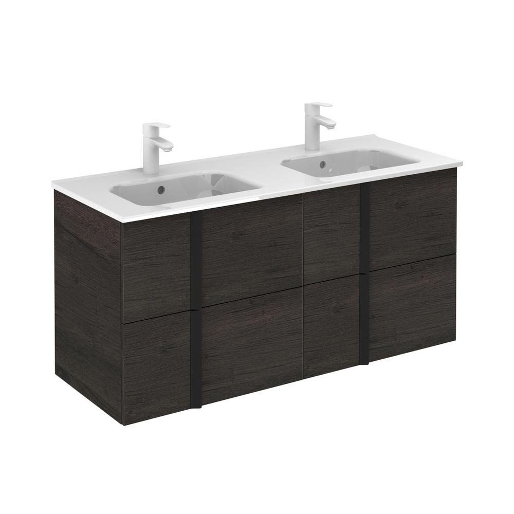 ROYO Onix 48 in. W x 18 in. D Vanity with Drawers in Essence Wenge with Vanity Top in White Ceramic Basin