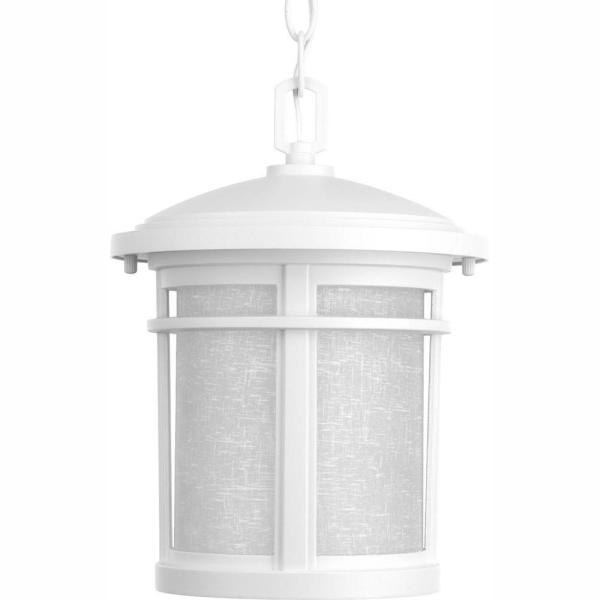 Wish Collection 1-Light Outdoor Textured White LED Hanging Lantern