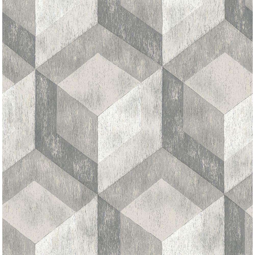 Brewster Ash Rustic Wood Tile Geometric Wallpaper Sample