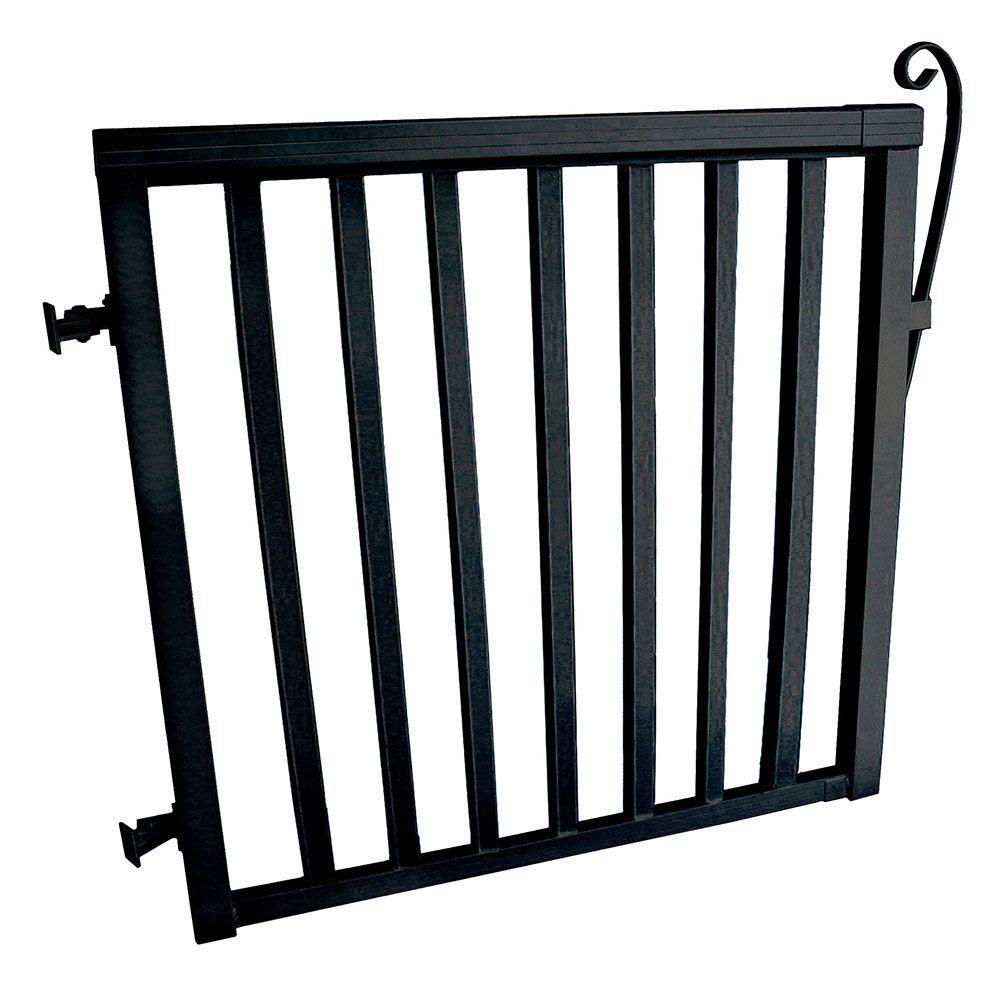 42 in. x 40 in. Black Aluminum Wide Picket Gate