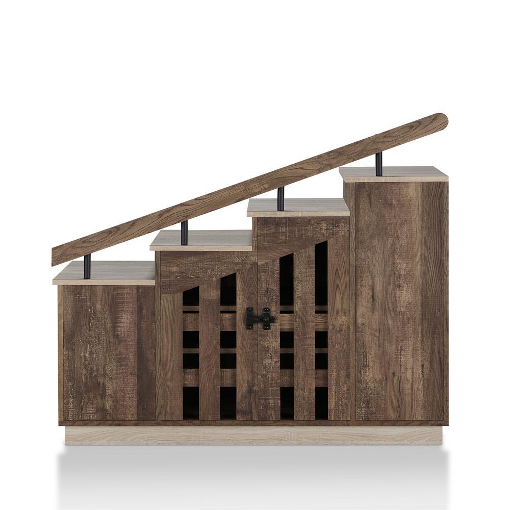 Elias Reclaimed Oak Novelty Staircase Shoe Cabinet With Window Panel Doors