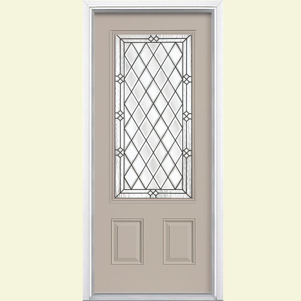 36 in. x 80 in. Halifax 3/4 Rectangle Left Hand Painted Smooth Fiberglass Prehung Front Door w/ Brickmold, Vinyl Frame