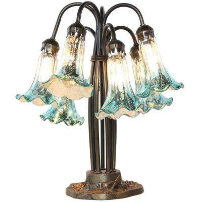 18.5 in. Blue and Silver Table Lamp with 7 Hand-Blown Mercury Glass Lily Shades