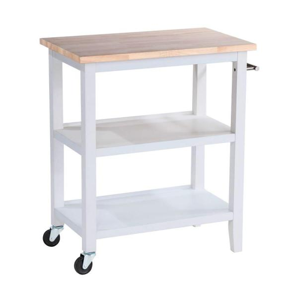 TRINITY White Kitchen Cart With Towel Bar