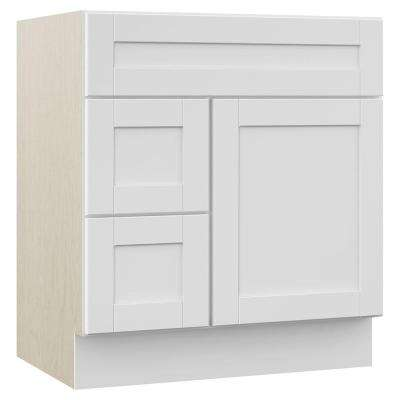 Stirling 30 in. W x 21.5 in. D x 33.5 in. H Bath Vanity Cabinet Only with Drawers on Left in White